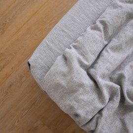 Washed Bed Linen Fitted Sheet Melange Graphite