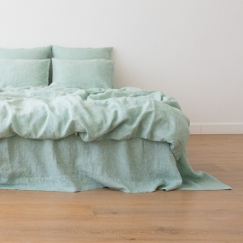 Washed Bed Linen Duvet Melange Mint