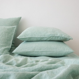 Washed Bed Linen Pillow Case Melange Mint