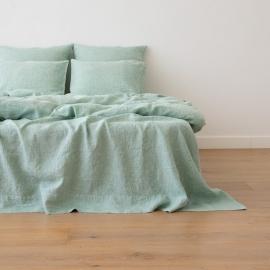Washed Bed Linen Flat Sheet Melange Mint