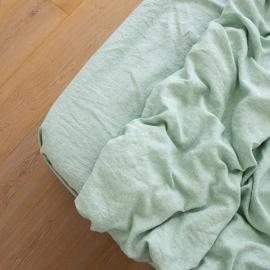 Washed Bed Linen Fitted Sheet Melange Mint