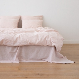 Washed Bed Linen Duvet Pinstripe Rosa