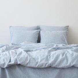 Washed Bed Linen Duvet Pinstripe Blue