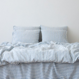 Washed Bed Linen Pillow Case Ticking Stripe Blue