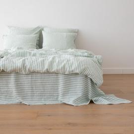 Washed Bed Linen Duvet Ticking Stripe Mint