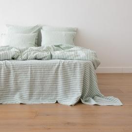 Washed Bed Linen Flat Sheet Ticking Stripe Mint