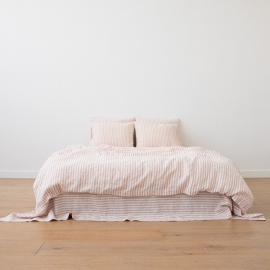 Washed Bed Linen Flat Sheet Ticking Stripe Rosa
