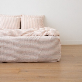 Washed Bed Linen Fitted Sheet Ticking Stripe Rosa