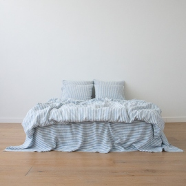 Washed Bed Linen Flat Sheet Ticking Stripe Blue