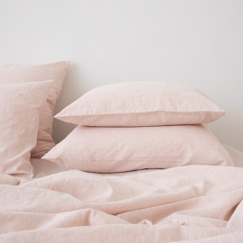 Washed Bed Linen Pillow Case Pinstripe Rosa