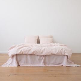Washed Bed Linen Flat Sheet Pinstripe Rosa