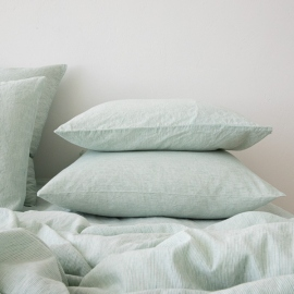Washed Bed Linen Pillow Case Pinstripe Mint