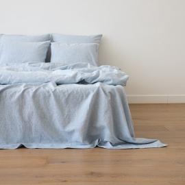 Washed Bed Linen Flat Sheet Pinstripe Blue