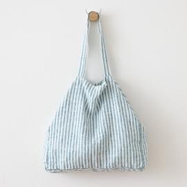 Marine Blue Linen Beach Bag Brittany