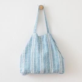 White Marine Blue Linen Beach Bag Multistripe