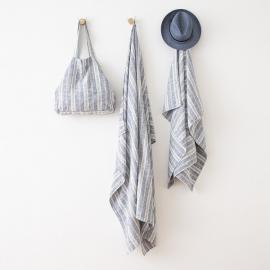 Indigo Linen Beach Bag Multistripe