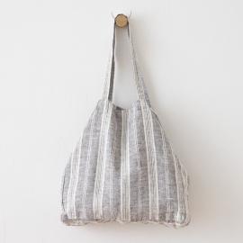 Graphite Linen Beach Bag Multistripe