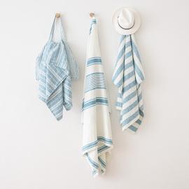 Linen Beach Towel Tuscany Marine Blue