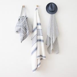 Linen Beach Towel Tuscany Indigo White