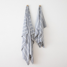 Linen Beach Towel Multistripe Indigo
