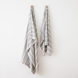 Linen Beach Towel Multistripe Graphite