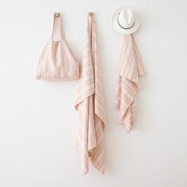 Linen Beach Towel Multistripe Rosa