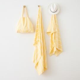 Yellow Linen Beach Bag Multistripe