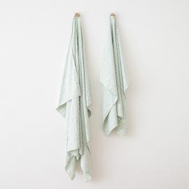 Linen Beach Towel Brittany Aqua Foam