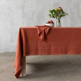 Linen Tablecloth Brick Terra Fringe