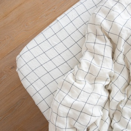 White Navy  Linen Deep Fitted Sheet Window Pane Washed