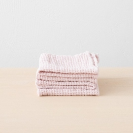 Linen Waffle Wash Cloths Rosa