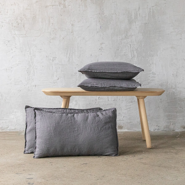 Steel Grau Leinen Kissenbezug Stone Washed Linenme